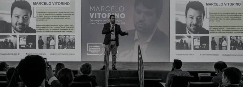 imagem do professor Marcelo Vitorino para ilustrar os curesos e palestras de marketing político por ele ministrados